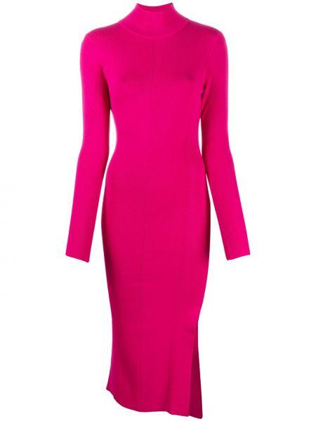 Розовое приталенное платье миди с разрезом из вискозы Patrizia Pepe
