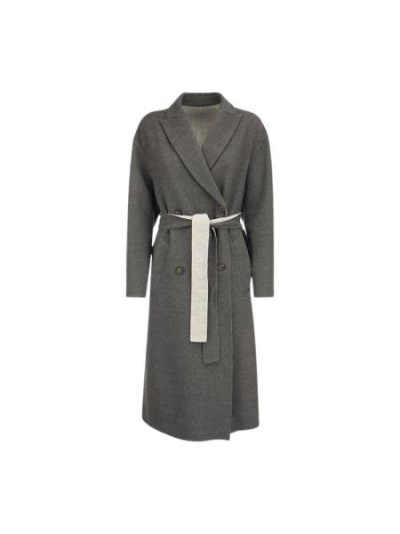 Szary płaszcz wełniany Brunello Cucinelli