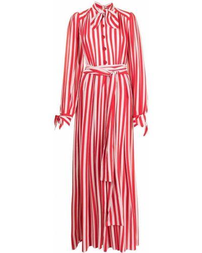 Бежевое шелковое платье макси в полоску Dolce & Gabbana