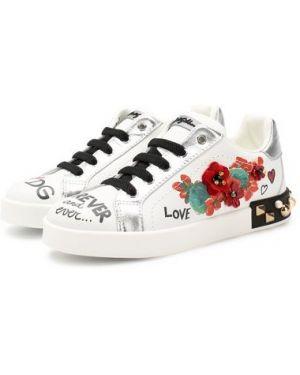 Кожаные белые кеды с аппликациями с подкладкой Dolce & Gabbana