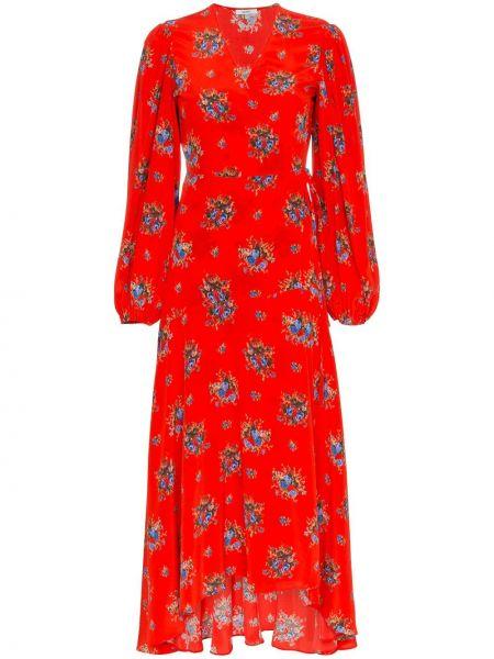 Платье макси с цветочным принтом красный Ganni