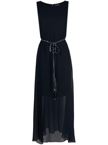 Шелковое синее платье макси с вырезом Antonelli