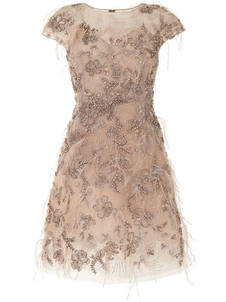 С рукавами розовое коктейльное платье круглое Marchesa