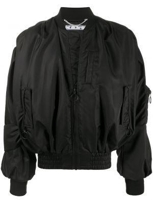 Bawełna czarny długa kurtka z mankietami z długimi rękawami Off-white