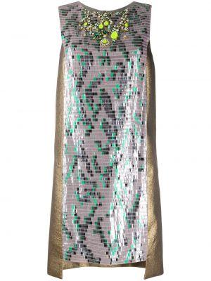 Коричневое шерстяное коктейльное платье с пайетками Matthew Williamson