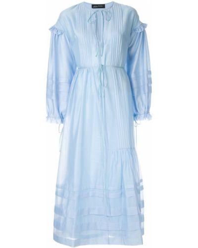 Платье макси в полоску - синее Anna October