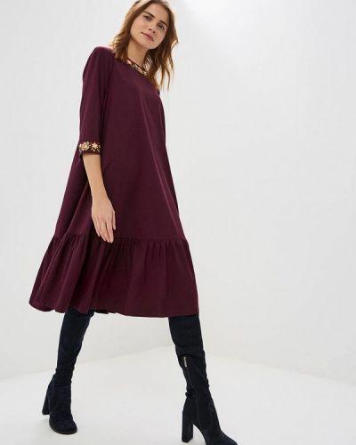 Повседневное платье осеннее фиолетовый Madam T