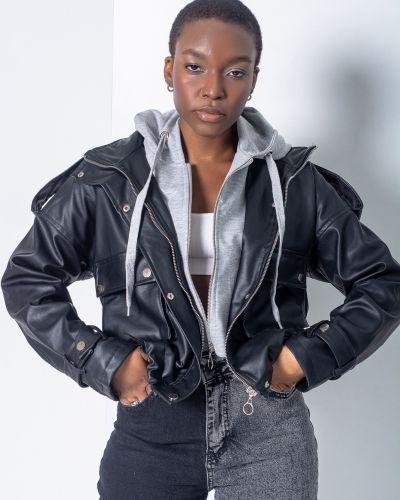 Кожаная куртка с капюшоном - черная Noa Noa