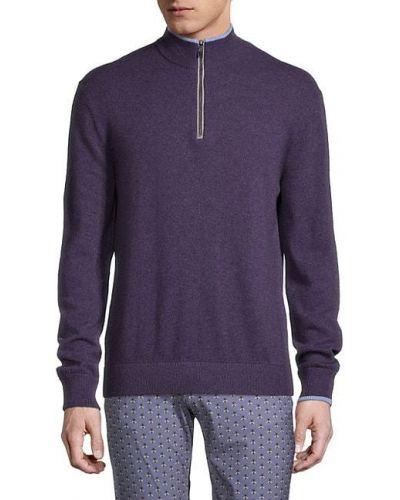 Сиреневый кашемировый длинный свитер с длинными рукавами Greyson