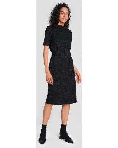 Черное прямое платье мини с воротником с короткими рукавами Ostin