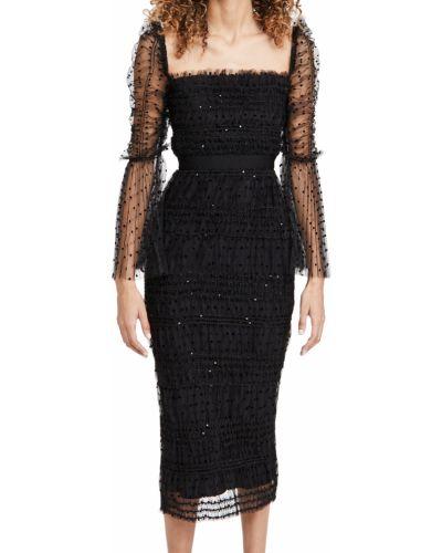 Черное платье миди из фатина с подкладкой Self-portrait