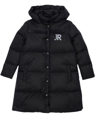 Nylon czarny płaszcz z kapturem prążkowany z mankietami John Richmond