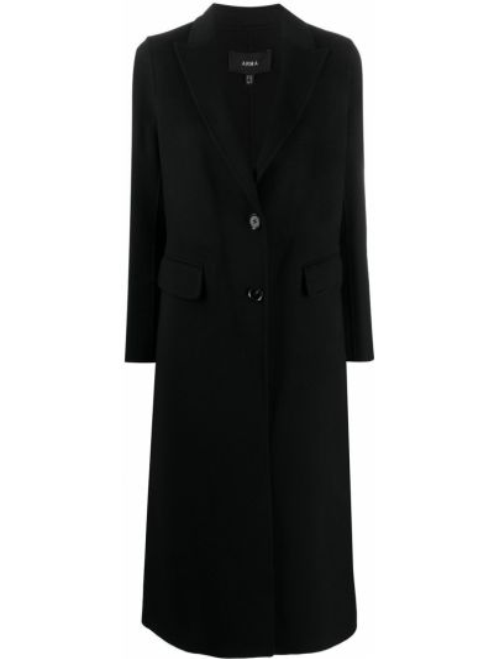 Черное однобортное шерстяное пальто на пуговицах Arma