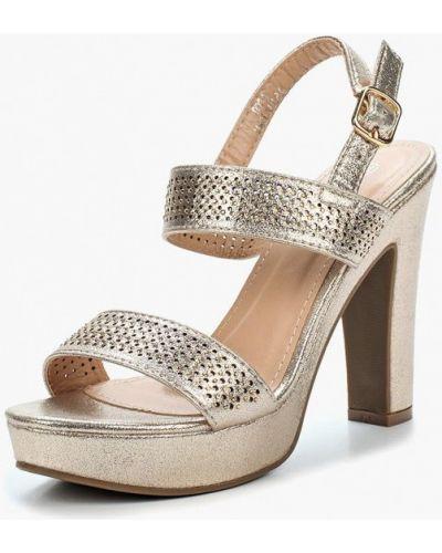 Босоножки на каблуке золотого цвета Renda