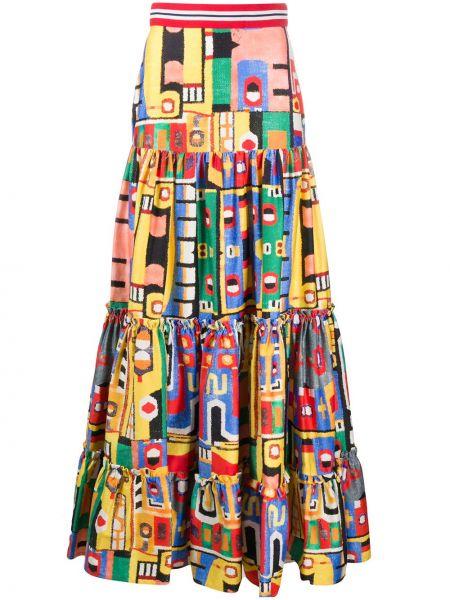 Хлопковая желтая юбка макси с поясом со вставками Stella Jean