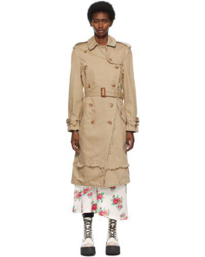 Бежевое длинное пальто двубортное с воротником R13