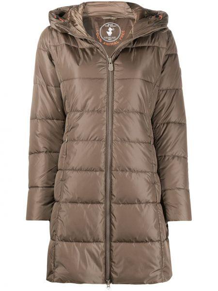 Нейлоновое коричневое длинное пальто с капюшоном Save The Duck