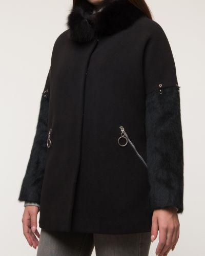 Шерстяное черное пальто с воротником Electrastyle