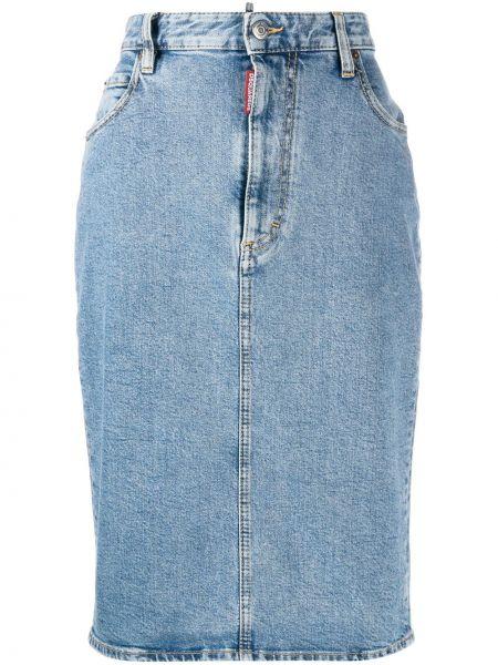 Синяя юбка карандаш на пуговицах с карманами Dsquared2