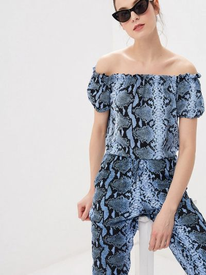 Блузка с открытыми плечами синяя весенний Dorothy Perkins