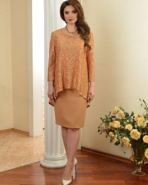 С рукавами гипюровое платье миди на молнии с вырезом Salvi-s