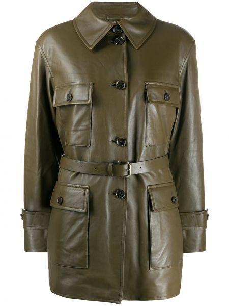 Зеленая прямая куртка на пуговицах с поясом Desa 1972