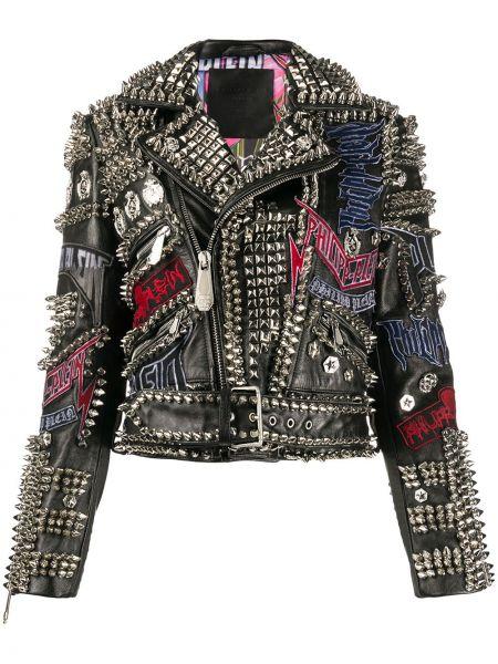 Черная кожаная короткая куртка байкерская Philipp Plein