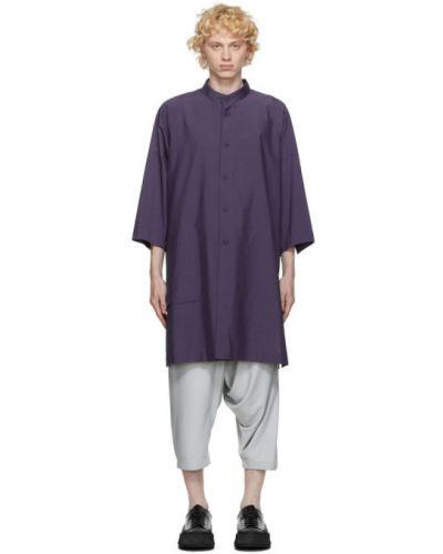 Фиолетовая рубашка с воротником с заплатками с манжетами 132 5. Issey Miyake