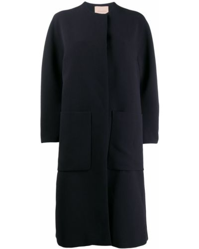 Синее длинное пальто с капюшоном Roksanda