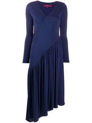 Синее асимметричное платье миди на молнии из вискозы Sies Marjan
