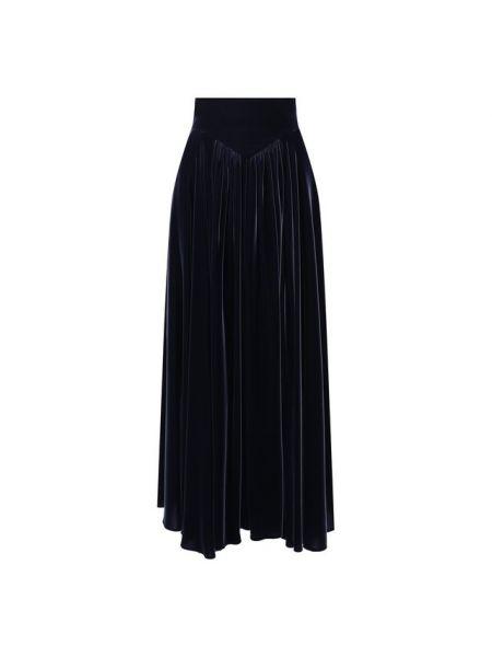 Синяя с завышенной талией юбка миди со складками в рубчик Alaïa
