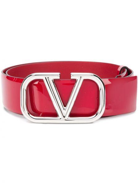 Кожаный красный ремень с декоративной отделкой с поясом Valentino Garavani
