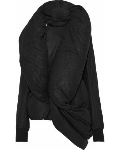 Czarna kurtka skórzana asymetryczna Rick Owens