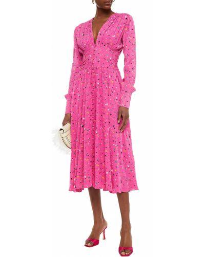 Różowa sukienka midi z wiskozy zapinane na guziki Rotate Birger Christensen