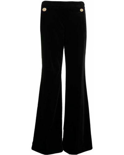 Бархатные расклешенные черные брюки с карманами Temperley London
