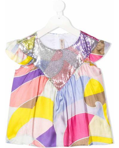 Розовая шелковая блузка с короткими рукавами Emilio Pucci Junior