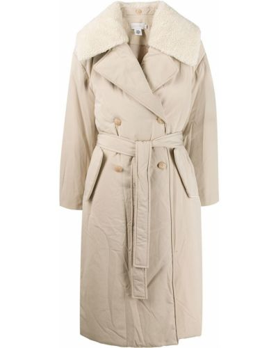 Шерстяное бежевое пальто классическое с воротником Low Classic