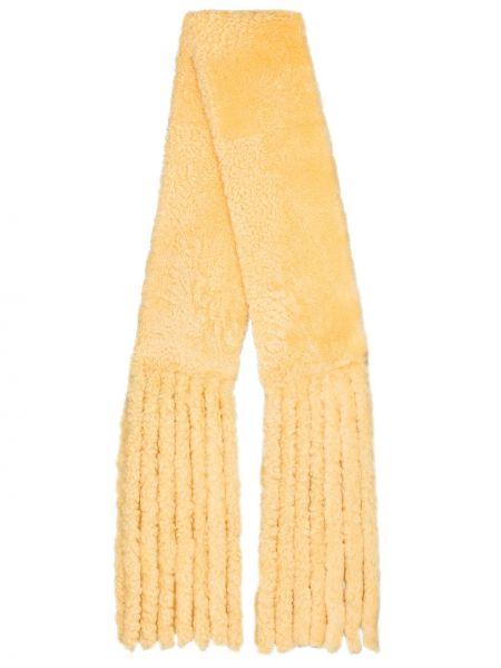 Желтый шерстяной шарф с опушкой Bottega Veneta