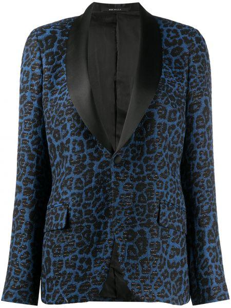 Шелковый синий удлиненный пиджак с карманами R13