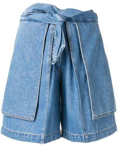 Однобортные джинсовые шорты с карманами со стразами Christian Wijnants
