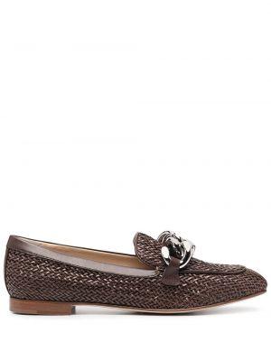 Brązowe loafers skorzane Casadei