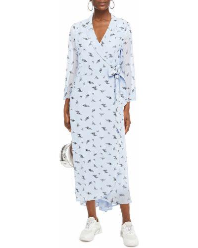 Платье миди с принтом - синее Ganni