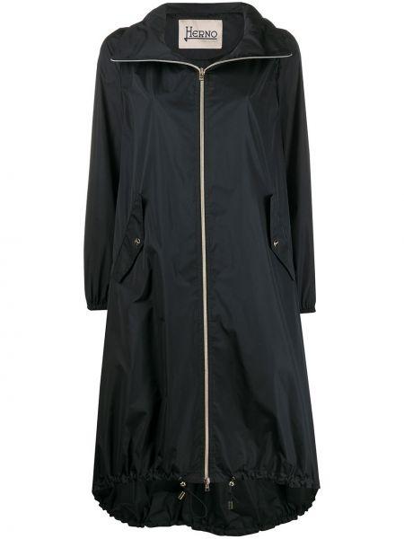 Свободная черная длинное пальто оверсайз Herno
