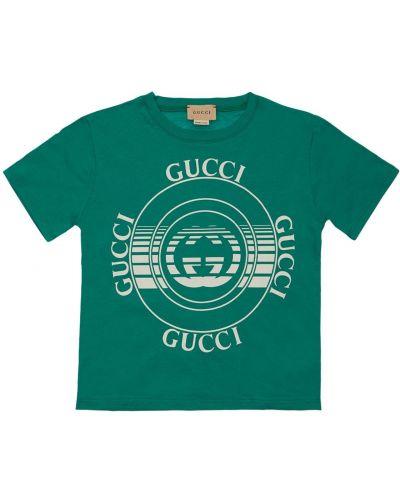 Zielony t-shirt bawełniany z printem Gucci