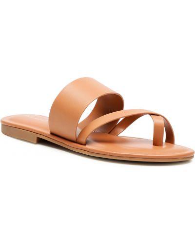 Brązowe sandały japonki Aldo