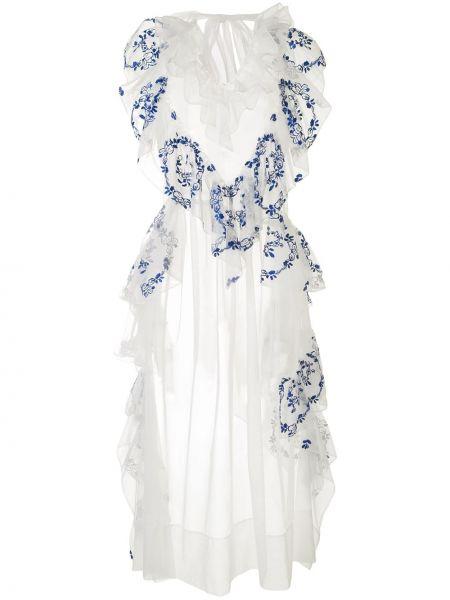 Платье миди с вышивкой с цветочным принтом Simone Rocha
