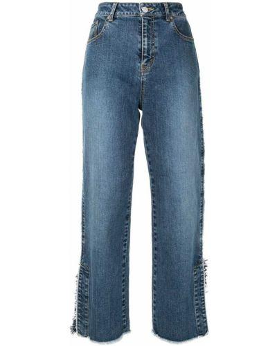 Синие нейлоновые свободные джинсы с бахромой Coohem