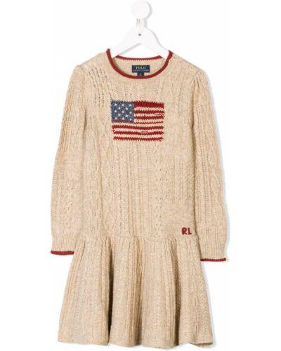 Платье с рукавами с манжетами в рубчик Ralph Lauren Kids