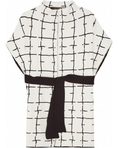 Прямое белое шерстяное пальто Adolfo Dominguez