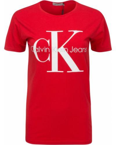 Bawełna czerwony koszula jeansowa okrągły Calvin Klein Jeans